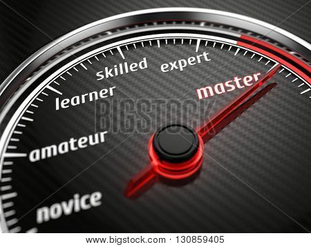Experience levels speedmeter with needle on master level. 3d render