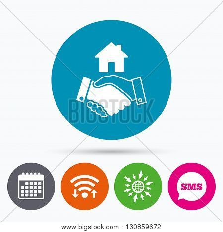 Wifi, Sms and calendar icons. Home handshake sign icon. Successful business with house building symbol. Go to web globe.