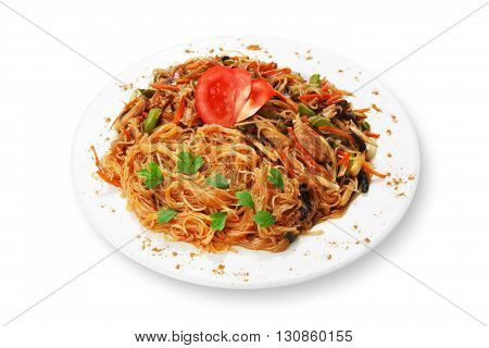 Asian food. Fried Thai glass Rice noodles with mushrooms and vegetables. Vegetarian Chinese transparent glass rice vermicelli fried with meat. Korean funchoza cellophane noodles isolated