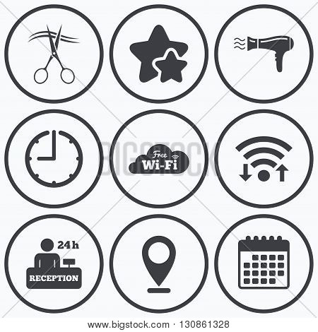 Clock, wifi and stars icons. Hotel services icons. Wi-fi, Hairdryer in room signs. Wireless Network. Hairdresser or barbershop symbol. Reception registration table. Calendar symbol.