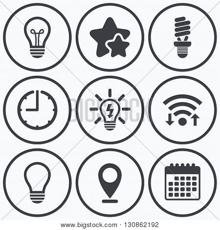 Clock, wifi and stars icons. Light lamp icons. Fluorescent lamp bulb symbols. Energy saving. Idea and success sign. Calendar symbol.