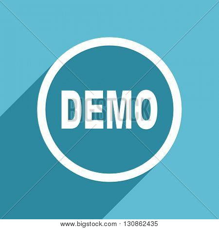 demo icon, flat design blue icon, web and mobile app design illustration