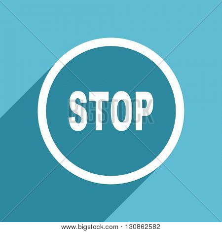 stop icon, flat design blue icon, web and mobile app design illustration