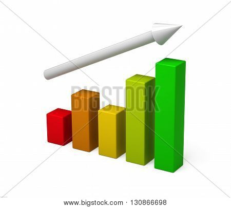 3D colorful chart graph diagram. Concept growth. Isolated on a white background. 3D rendering.