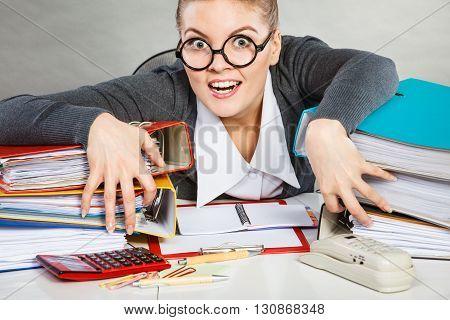 Obsessed Female Clerk At Work.