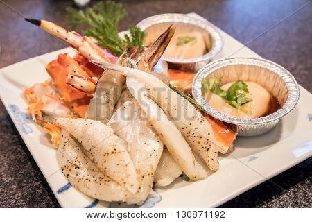 Fresh seafood set for japanese yakiniku
