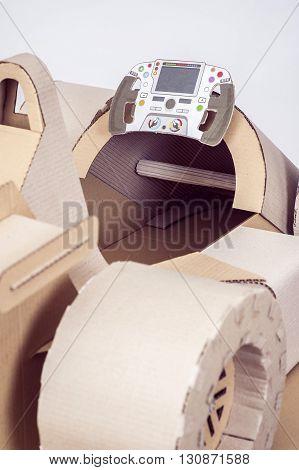 Close-up photo of cardboard racing car interior