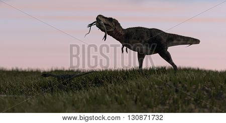 3d illustration of the tarbosaurus hunted coelophysis