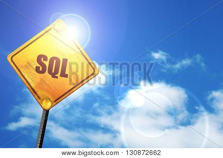 sql, 3D rendering, a yellow road sign