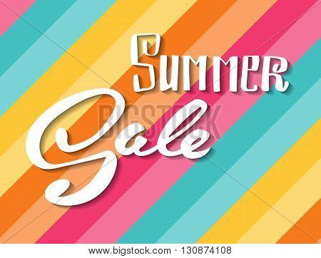 Summer Sale banner. Hand lettering vector banner