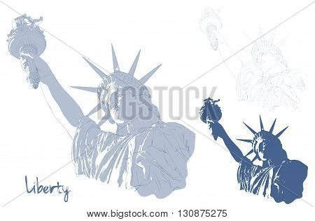 Festive card design for fourth of July Independence Day USA with symbols of America: Statue of Liberty with american flag in the front. Patriotic series, main celebration of USA. Artistic painting