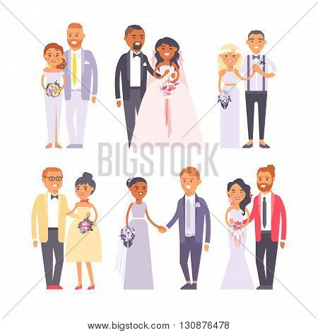Cheerful married couple standing and wedding couple big set. Wedding couple vector character and love groom wedding couple. Wedding couple beauty wife, husband celebration. Outdoors wedding character.