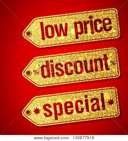 Golden set of  labels for discount sales - low price, discount and special