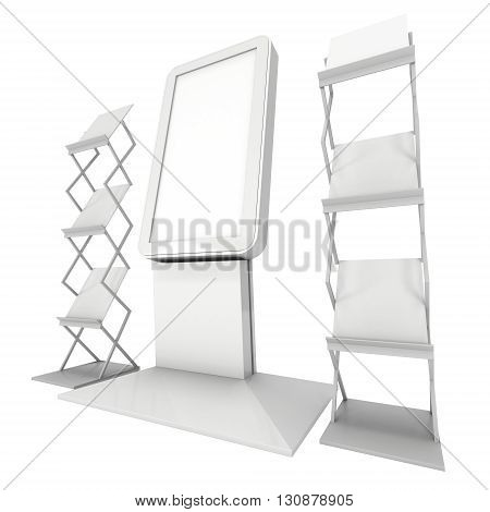 LCD Screen Floor Stand. Blank Trade Show Booth. 3d render of lcd screen isolated on white background. High Resolution Floor Stand. Ad template for your expo design.