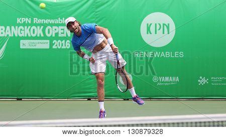 Bangkok Thailand - May 17 2016: Sam Barry is an Irish professional tennis player. KPN Renewables Bangkok Open 2016 at Rama Gardens Hotel.