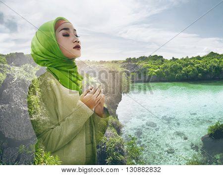Image Of Double Exposure Muslim Woman