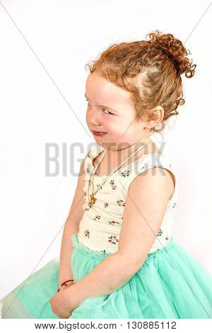 Fashion little girl in green dress in catwalk model pose stock photo. Image 10