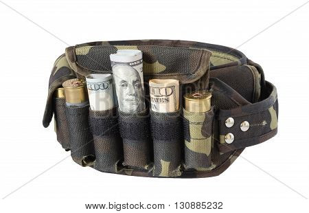 bandolier with money instead of bullets isolated on white background