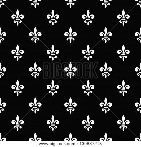 Golden fleur-de-lis seamless pattern. Black white template. Floral classic texture. Fleur de lis royal lily retro background. Design vintage for card, wallpaper, wrapping, textile. Vector Illustration