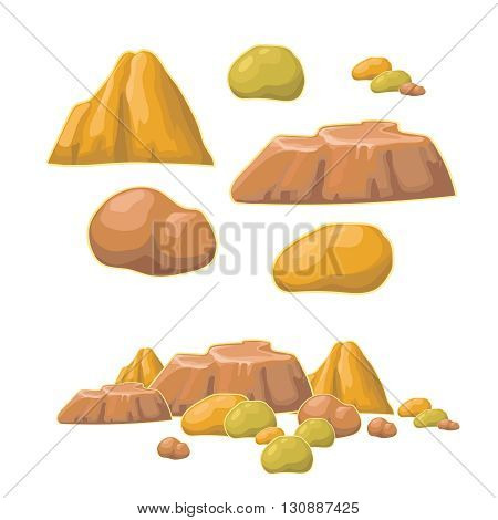 Set of cartoon vector stones and  minerals