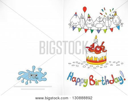 Happy birthday card. Cartoon funny bird on a string. Cake with worms. Offset printing with displacement inks. Happy birthday background. Stock vector illustration.