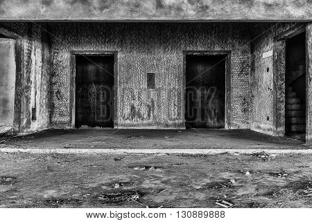interior of abandoned building creepy place darkness horror creepy and halloween background film style concept
