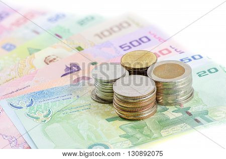 Thai baht money (coin and banknote) isolated white background