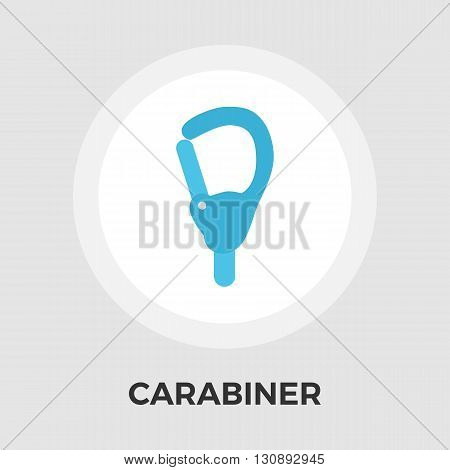 Carabiner icon vector. Flat icon isolated on the white background. Editable EPS file. Vector illustration.