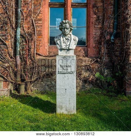 Sculpture or bust of Ludvig van Beethoven in Czech castle Hradec nad Moravici