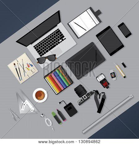 Flat Design Graphic Designer Tool Workplace Concept