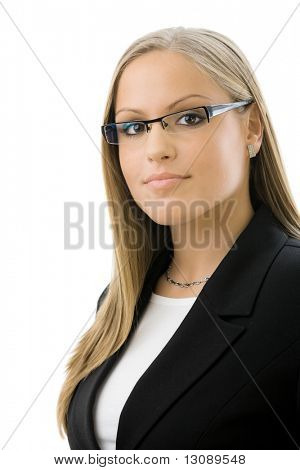 Portrait of young happy attractive businesswoman, smiling, isolated on white background.