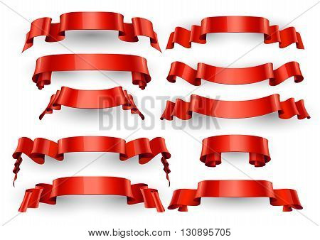 Realistic Red Glossy vector ribbons. Large set. vector