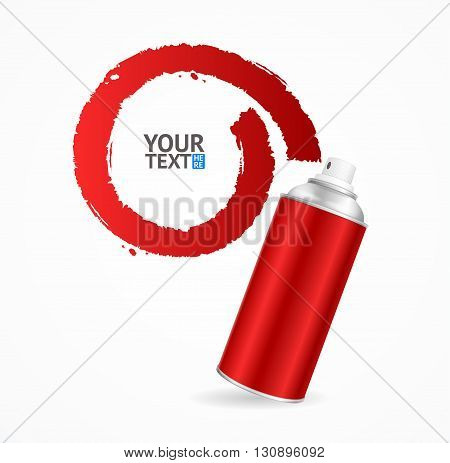 Red Spray Can Write Speech Bubble. Vector illustration