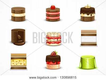 Set of nine different sweet cartoony cakes