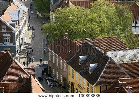 RIBE DENMARK - MAY 18 2016: Ribe main street view from Carhedral Tower May 18. 2016 Ribe Denmark