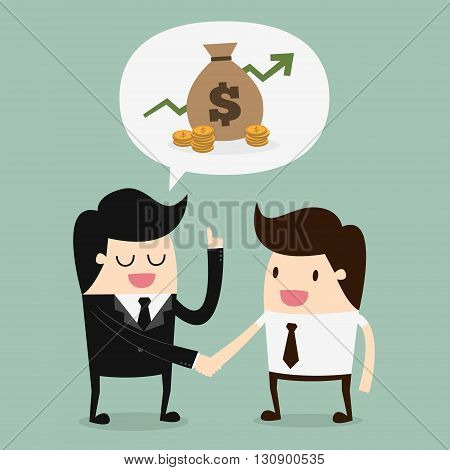 Two businessmen discussing. Business Concept Cartoon Illustration.