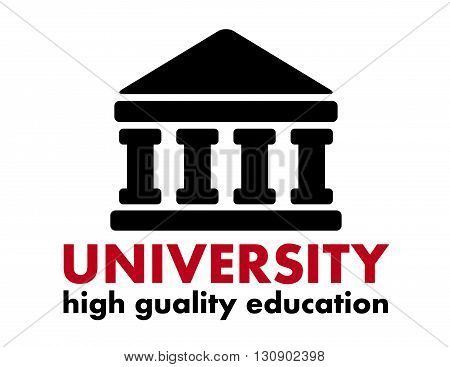 education concept icon with university building silhouette