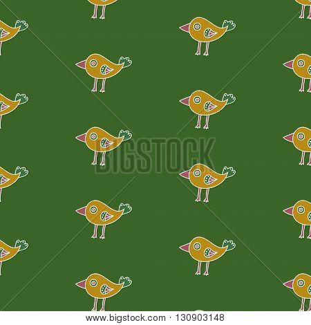 Small childish bird seamless pattern on a green background. The cartoon hand drawn bird with a big pink beak and a green tail. Vector illustration
