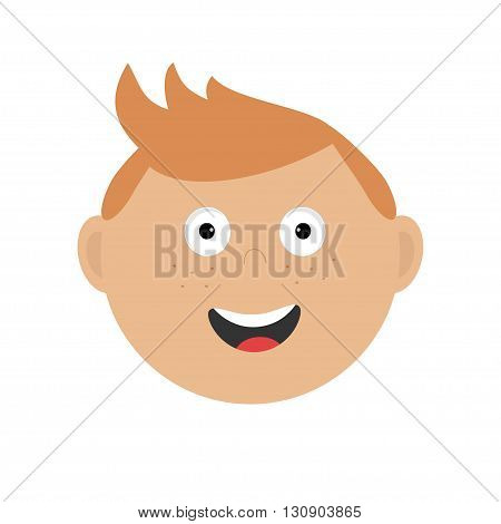 Smiling boy head. Cute cartoon character with red hair and freckles. Baby boy emotion collection. Happy face. Laughing boy icon. White background Isolated Flat design. Vector illustration