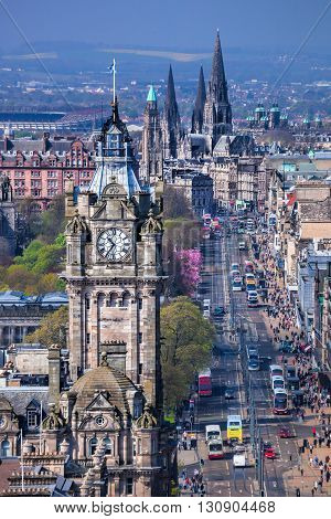 Old town Edinburgh with clock tower in Scotland