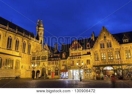 Basilica of the Holy Blood in Burg Square in Burges in Belgium