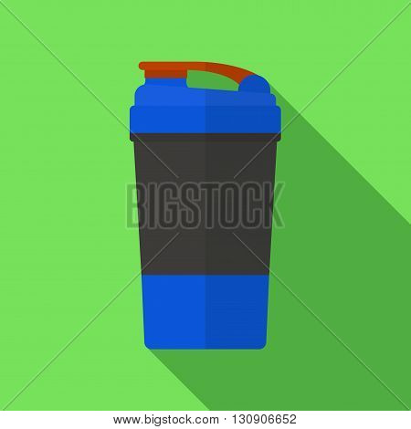 Vector illustration. Icon of toy sports shaker for protein powder and gainer in flat design with shadow effect. Healthy nutrition and fitness