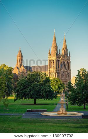 St. Peter's Cathedral of Adelaide at sunset South Australia. View from Pennington Gardens