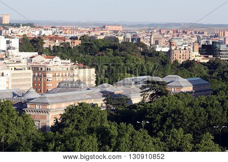 Aerial view of the Prado Museum building Madrid Spain.