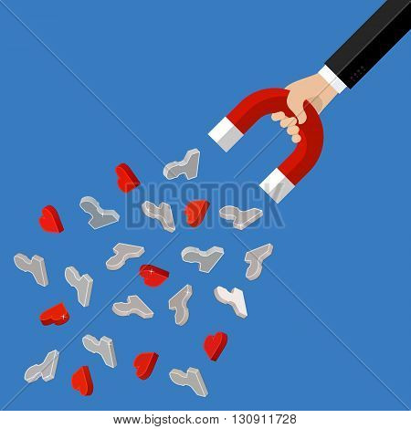Concept of attracting customers and clients to business. Hand holding magnet. Vector illustration in flat style. poster