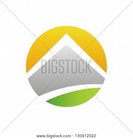 Solar energy stylized house vector illustration isolated on white background.