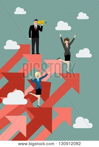 Business man and woman standing on red graphs up. Business concept