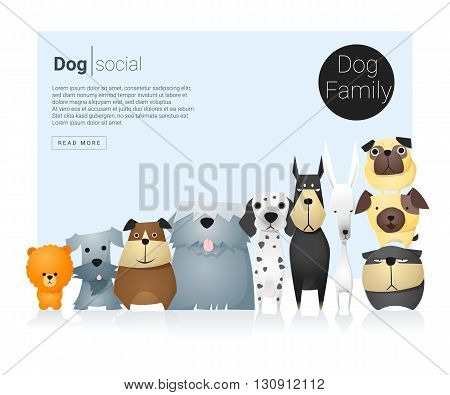 Animal banner with dogs for web design , vector , illustration