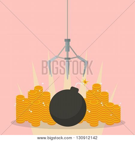 Robotic claw clutching a bomb against money. Business risk