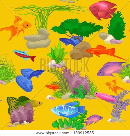 Aquarium fish, seaweed underwater seamless pattern vector illustration. Fish flat style vector illustration. Fish seamless pattern. Tropical fish, sea fish, aquarium fish seamless. Sea color flat design fish